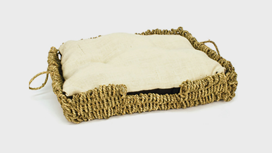 Seagrass-N-Burlap Square Bed from Ware Pet Products