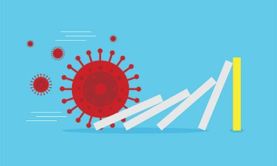 coronavirus domino effect illustration