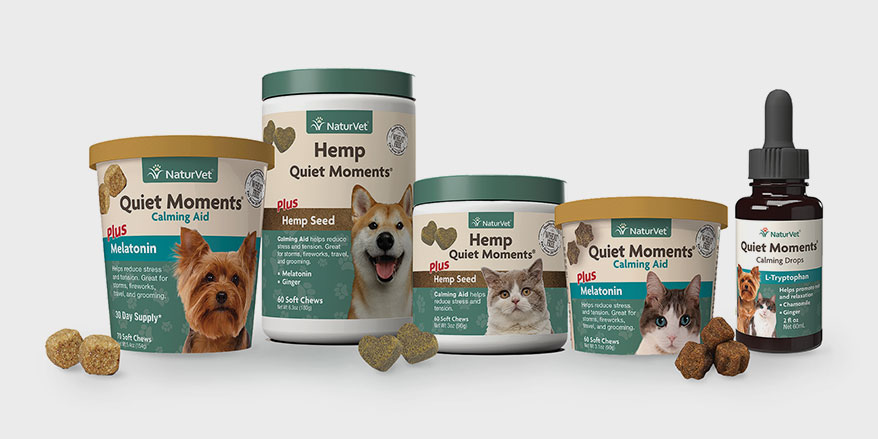 NaturVet's Quiet Moments calming aids for cats and dogs