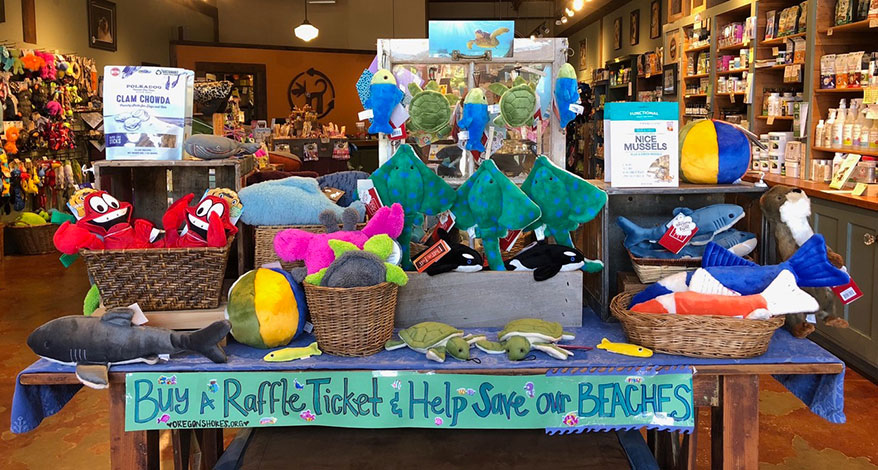 Themed displays featuring a fundraising element are a regular site at the store.