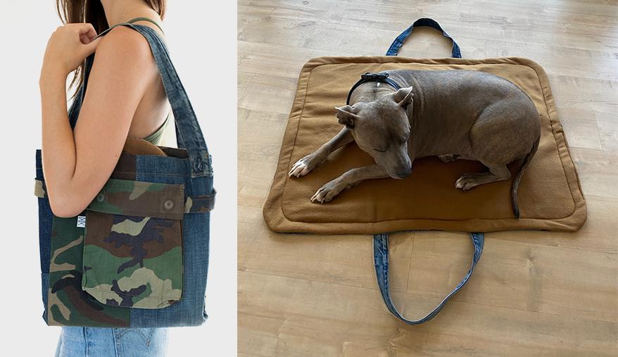 Denim Travel Bag and Blanket for Dogs
