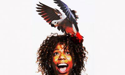 bird on lady's head