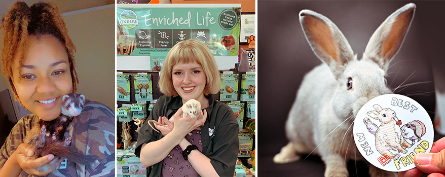 From left, Nyjah Hunter, Maisie Flanagan, and Astro the tester bunny, who stars in a store sticker.