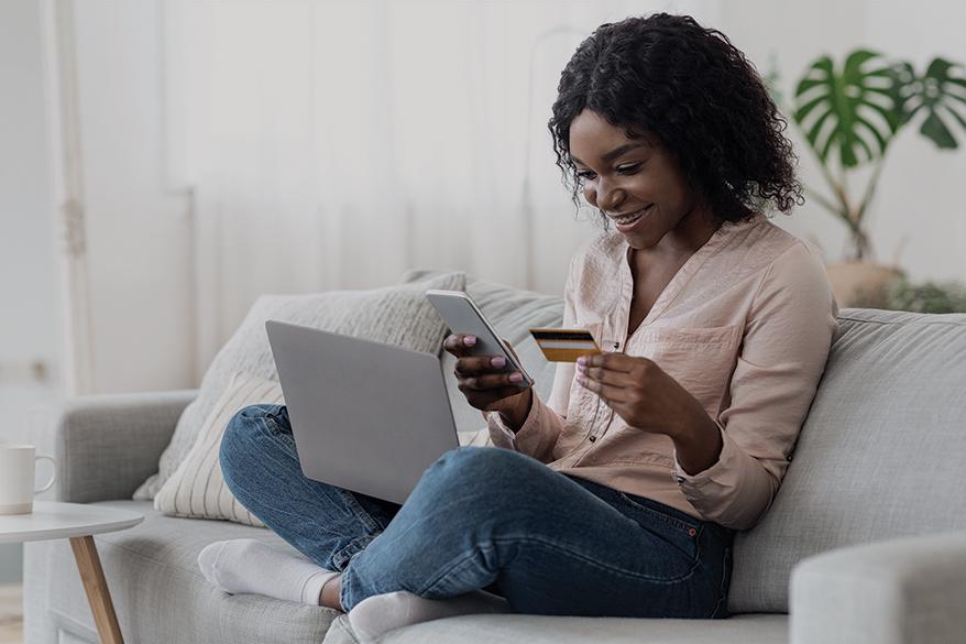 lady paying online thru card